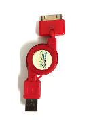 Retractable Sync Cable for Apple® (Red)